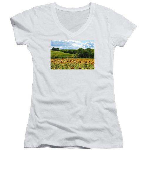 Field Of Sunflowers Women's V-Neck
