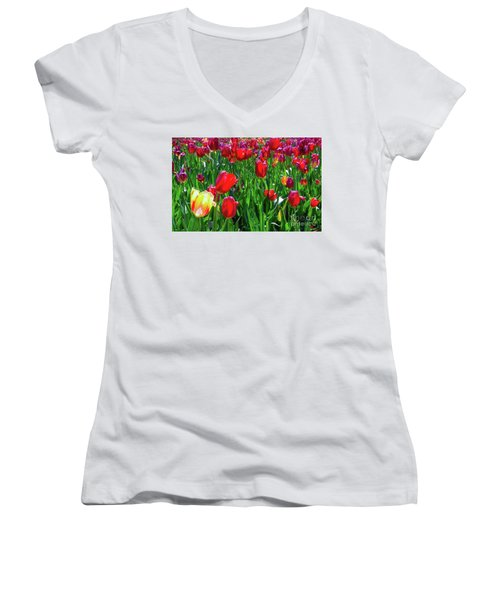 Tulip Garden Women's V-Neck