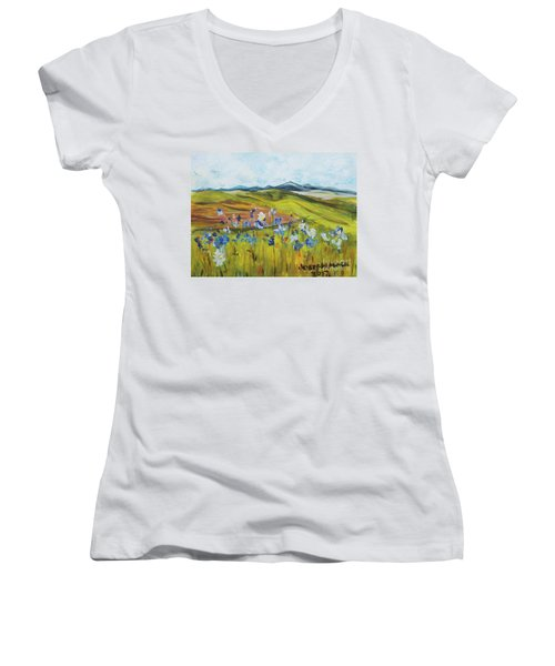 Field With Flowers Women's V-Neck T-Shirt
