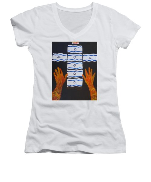 Fiery Intercession For Israel Women's V-Neck (Athletic Fit)