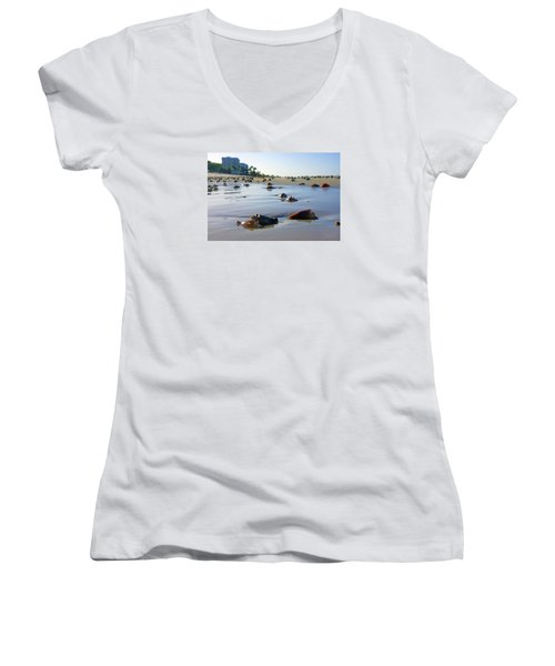 Fighting Conchs On The Beach In Naples, Fl Women's V-Neck (Athletic Fit)
