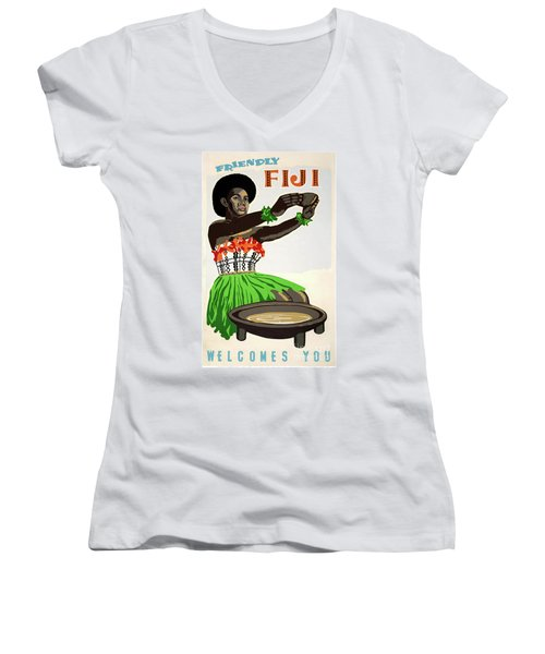 Fiji Restored Vintage Travel Poster Women's V-Neck (Athletic Fit)