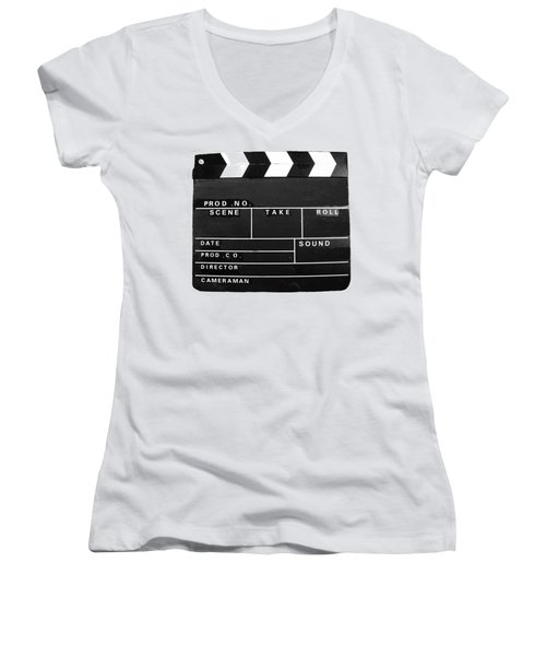 Film Movie Video Production Clapper Board  Women's V-Neck T-Shirt (Junior Cut) by Tom Conway