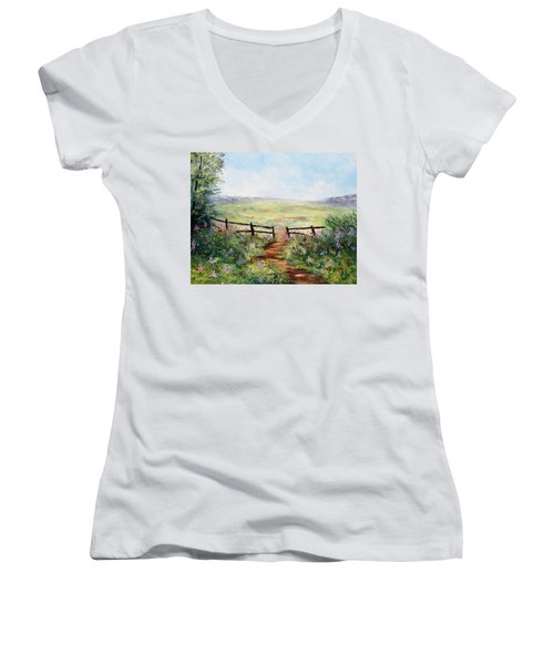 Finding Pasture Women's V-Neck (Athletic Fit)