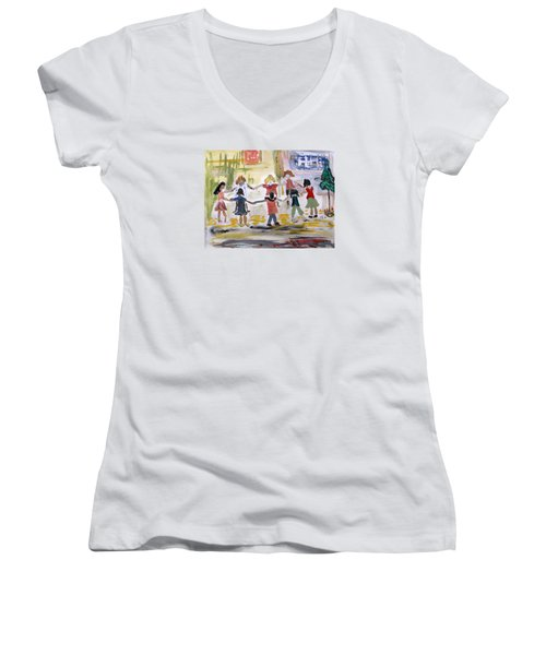 Finding Time To Play Women's V-Neck T-Shirt (Junior Cut) by Mary Carol Williams