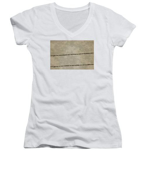 Fine Art Photograph Barbed Wire Over Vintage News Print Breaking Out  Women's V-Neck (Athletic Fit)