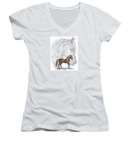 Fine Steps - Paso Fino Horse Print Color Tinted Women's V-Neck (Athletic Fit)