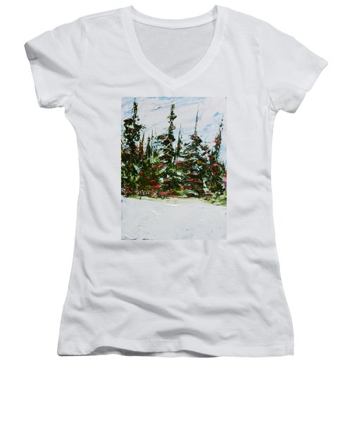 Fir Trees - Spring Thaw Women's V-Neck (Athletic Fit)