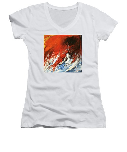 Fire And Lava Women's V-Neck T-Shirt (Junior Cut) by Kathleen Pio
