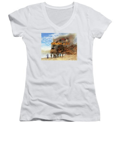 Women's V-Neck T-Shirt (Junior Cut) featuring the photograph Fire - Cliffside Fire 1907 by Mike Savad