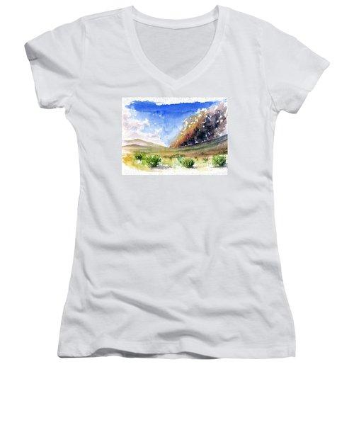Fire In The Desert 1 Women's V-Neck T-Shirt (Junior Cut) by John D Benson