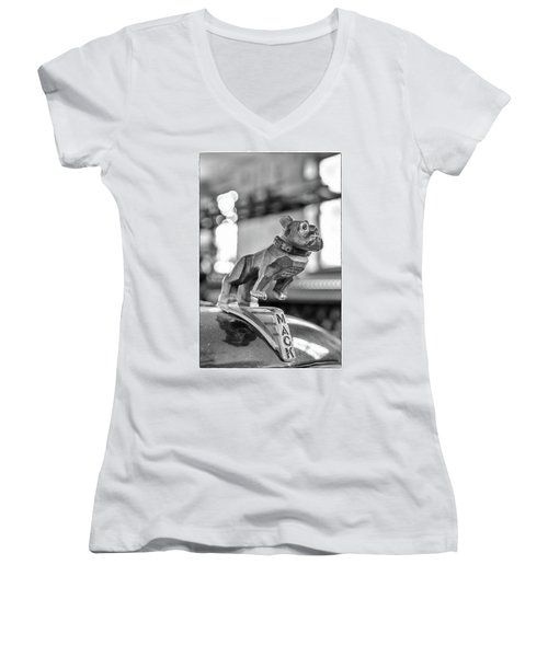 Fire Truck Hood Ornament Women's V-Neck T-Shirt (Junior Cut)