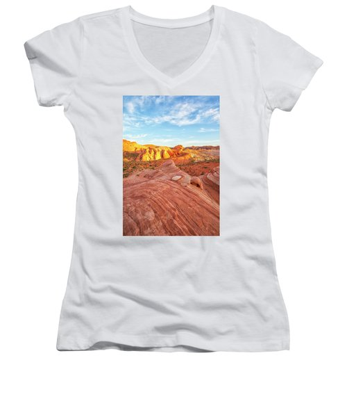 Fire Wave In Vertical Women's V-Neck