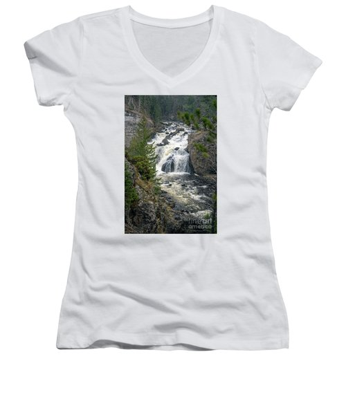 Firehole Falls Women's V-Neck T-Shirt (Junior Cut) by Cindy Murphy - NightVisions