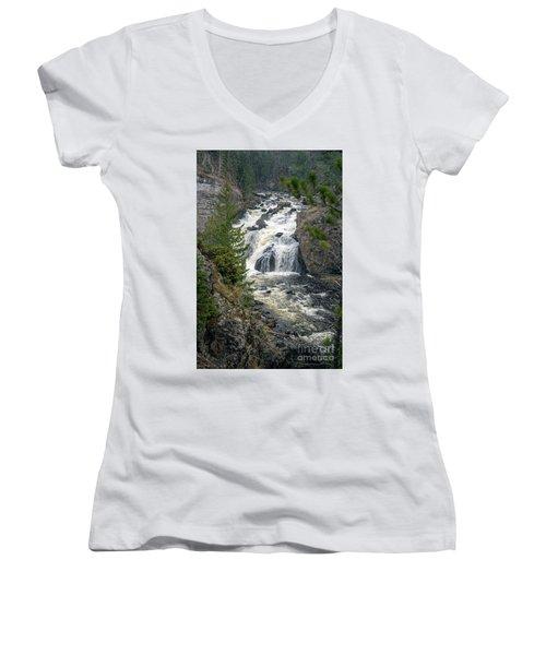 Firehole Falls Women's V-Neck T-Shirt