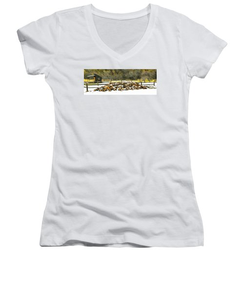 Women's V-Neck T-Shirt (Junior Cut) featuring the photograph  Floyd Snyder by Firewood in the Snow at Fort Tejon