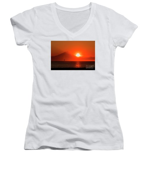 Firey Sunset On Mt Redoubt Volcano Alaska Women's V-Neck (Athletic Fit)