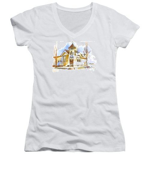 Women's V-Neck T-Shirt (Junior Cut) featuring the painting First Baptist Church In Winter by Kip DeVore