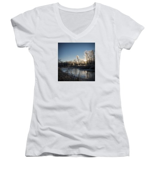 Women's V-Neck T-Shirt (Junior Cut) featuring the photograph First Frost by Annette Berglund
