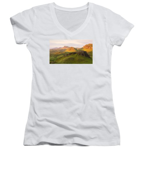 First Light On The Quairing  Women's V-Neck (Athletic Fit)