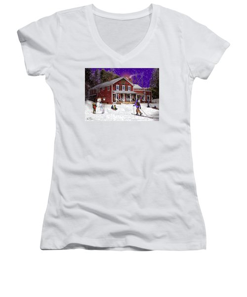 First Snow At The South Woodstock Country Store Women's V-Neck