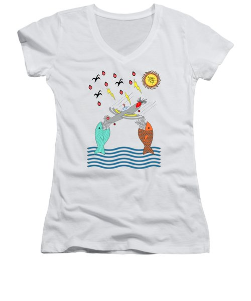 Fish Food Women's V-Neck T-Shirt (Junior Cut) by Methune Hively