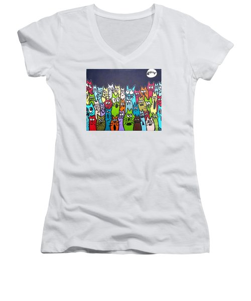 Fish Moon Cats Women's V-Neck (Athletic Fit)