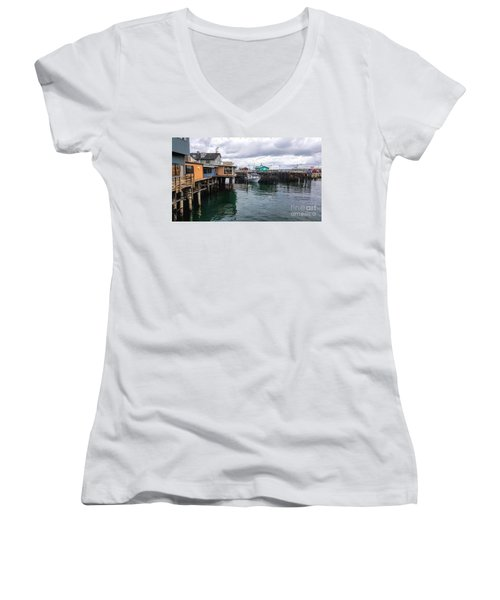 Women's V-Neck T-Shirt (Junior Cut) featuring the photograph Fisherman's Wharf Monterey II by Gina Savage
