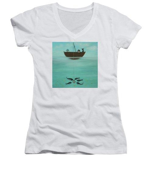 Fishing For Time Women's V-Neck T-Shirt