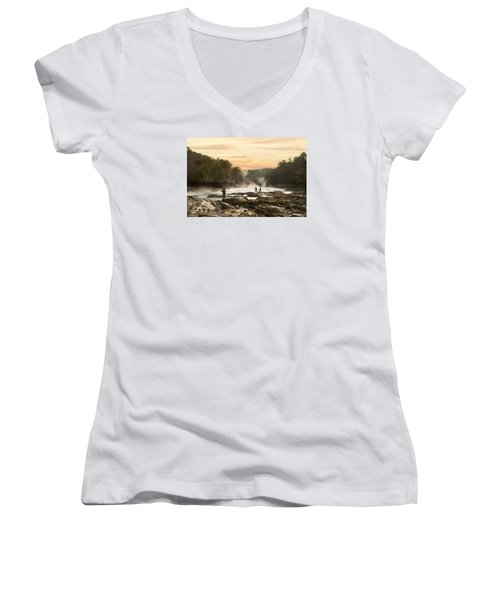Fishing In The Mist Women's V-Neck (Athletic Fit)