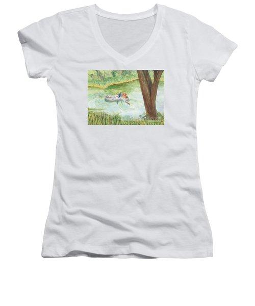 Women's V-Neck T-Shirt (Junior Cut) featuring the painting Fishing Lake Tanko by Vicki  Housel