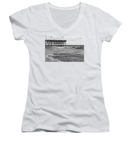 Women's V-Neck T-Shirt (Junior Cut) featuring the photograph Fishing Off The Pier At Myrtle Beach by Chris Flees
