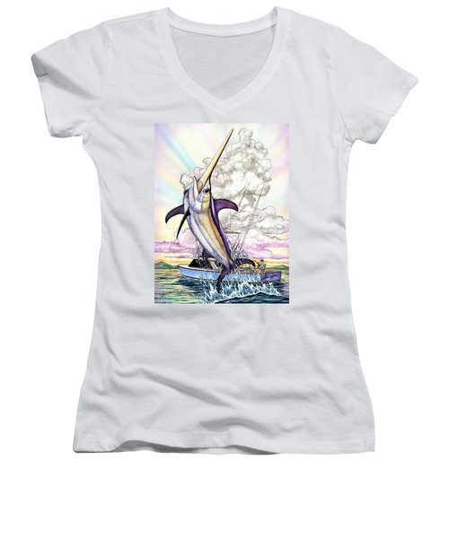 Fishing Swordfish Women's V-Neck