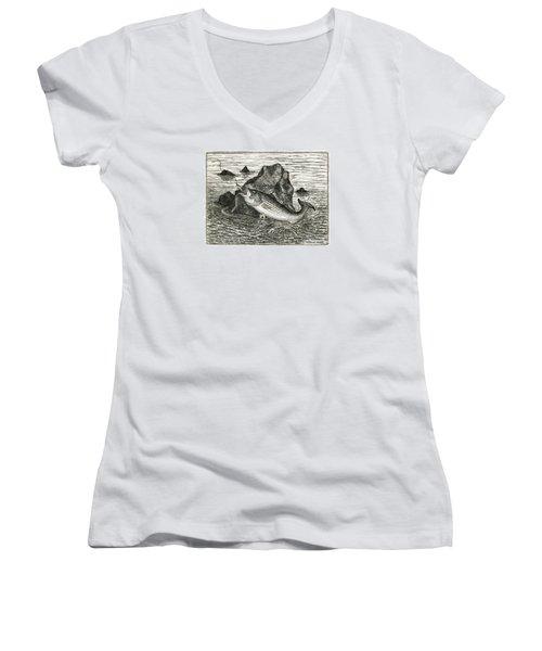 Fishing The Rocks Women's V-Neck T-Shirt (Junior Cut) by Charles Harden