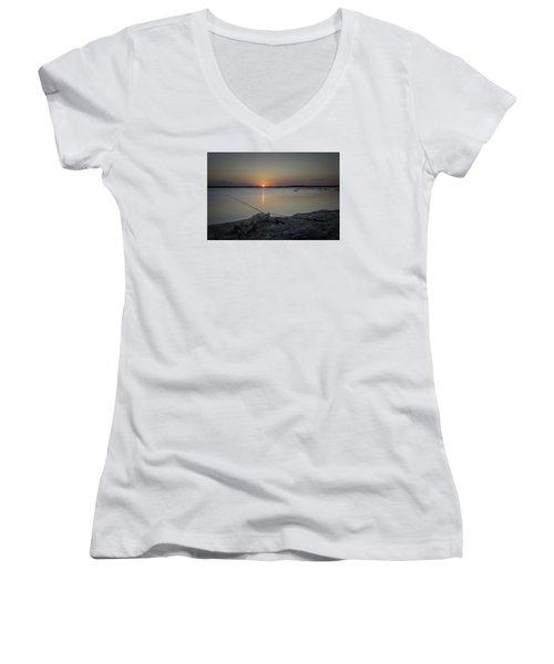 Fishing Poles Women's V-Neck T-Shirt (Junior Cut) by Leticia Latocki
