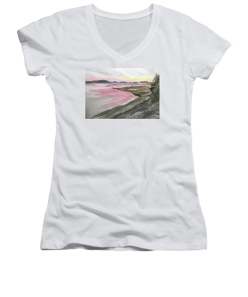 Five Islands - Watercolor Sketch  Women's V-Neck (Athletic Fit)