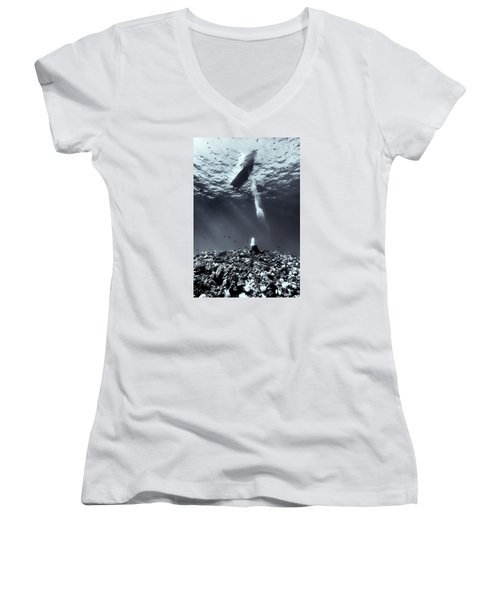 Fla-151028-nd800e-107-bw-selenium Women's V-Neck T-Shirt