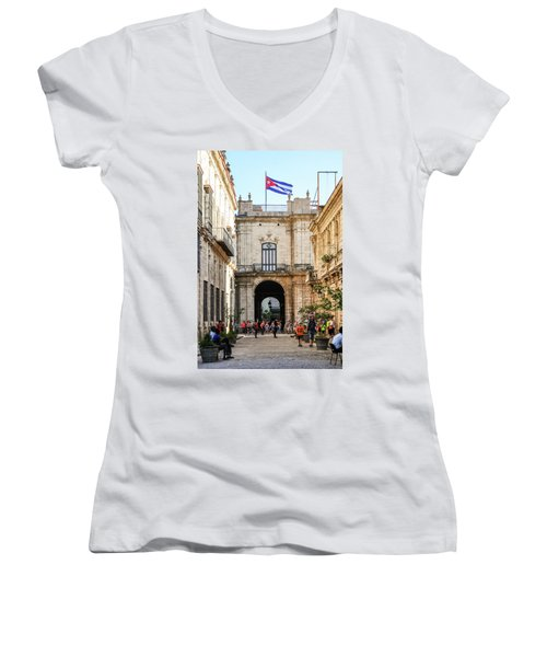 Flag Of Cuba Women's V-Neck (Athletic Fit)