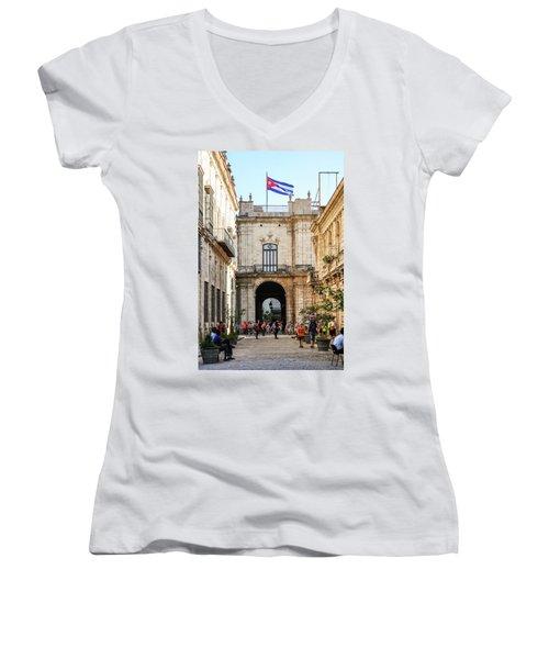 Flag Of Cuba Women's V-Neck T-Shirt
