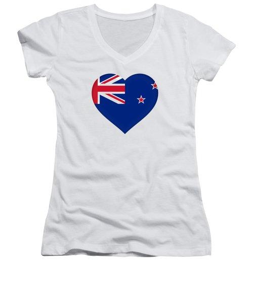 Flag Of New Zealand Heart Women's V-Neck T-Shirt