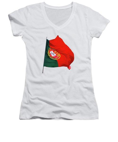Flag Of Portugal Women's V-Neck T-Shirt (Junior Cut) by Menega Sabidussi