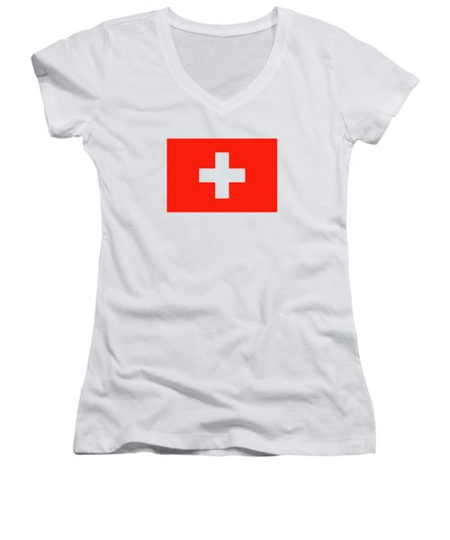 Flag Of Switzerland Women's V-Neck T-Shirt (Junior Cut) by Bruce Stanfield