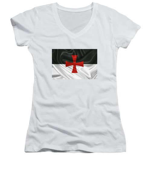 Flag Of The Knights Templar Women's V-Neck (Athletic Fit)