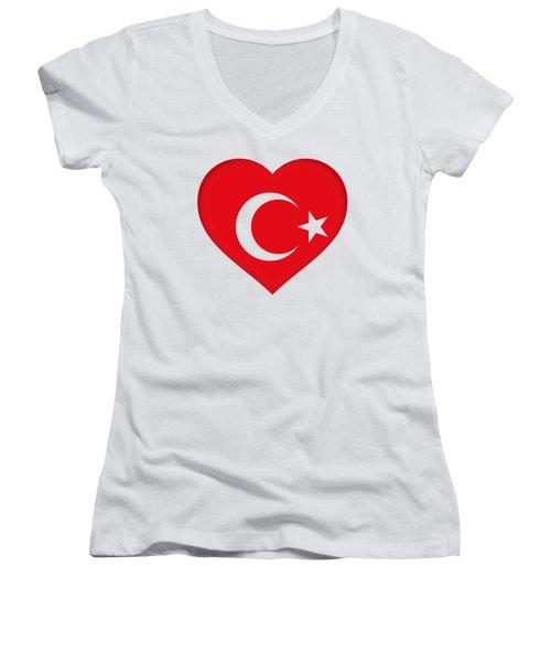 Flag Of Turkey Heart Women's V-Neck T-Shirt (Junior Cut) by Roy Pedersen