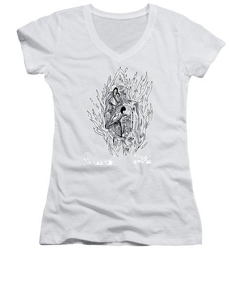 Flames Women's V-Neck T-Shirt