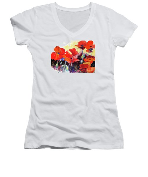 Flaming Poppies Women's V-Neck (Athletic Fit)