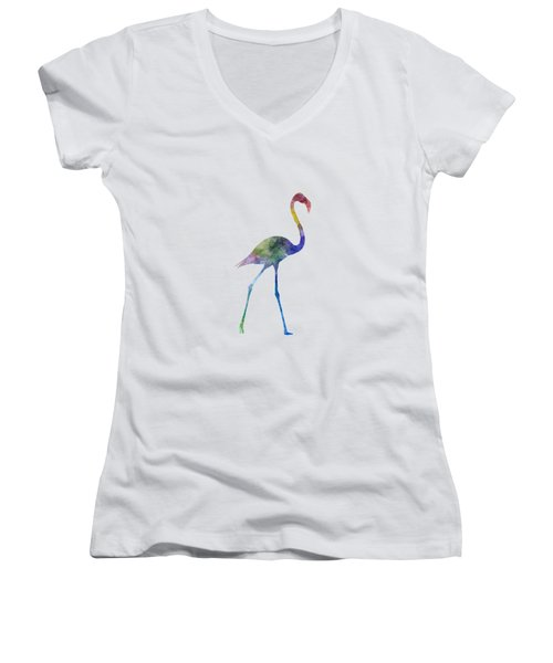 Flamingo 01 In Watercolor Women's V-Neck T-Shirt