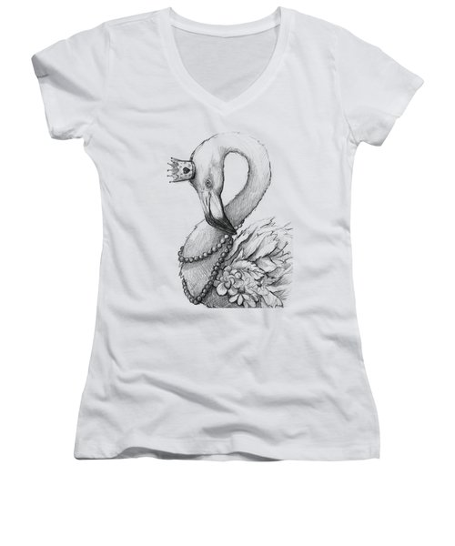 Flamingo In Pearl Necklace Women's V-Neck (Athletic Fit)