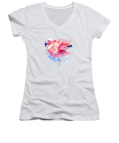 Flamingo On The Water Women's V-Neck T-Shirt (Junior Cut) by Marian Voicu