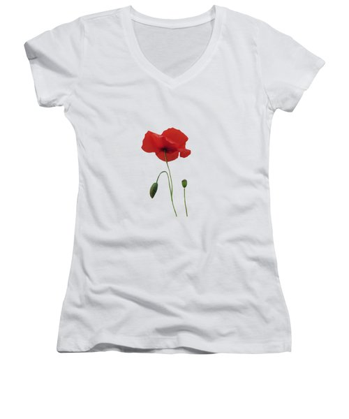 Women's V-Neck featuring the painting Flanders Fields by Valerie Anne Kelly